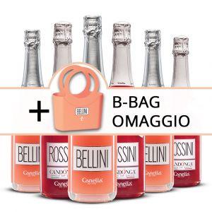 Confezione 6 bottiglie Mix Bellini e Rossini + B-Bag Omaggio – Canella